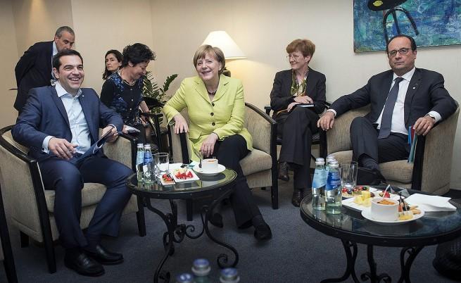Среща на Ципрас, Меркел и Оланд през май 2015 г.