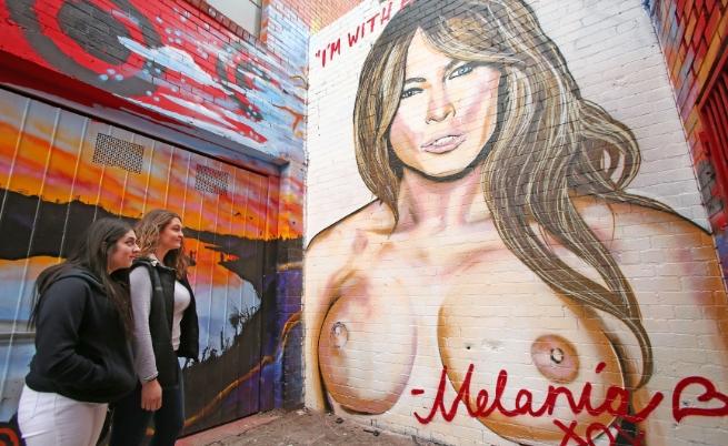 Графит, на който Мелания Тръмп е гола, беше изрисуван в Мелбърн, Австралия