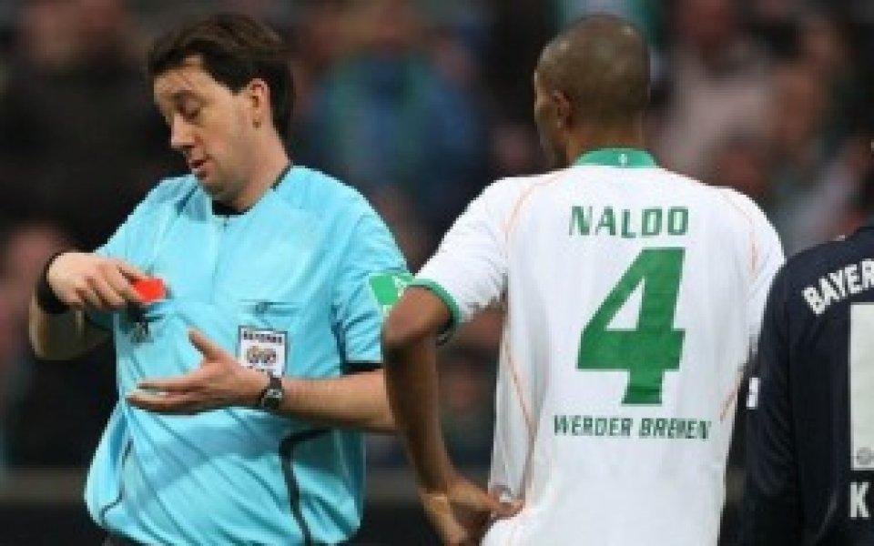 Три мача наказание за Налдо след червения картон срещу Байерн