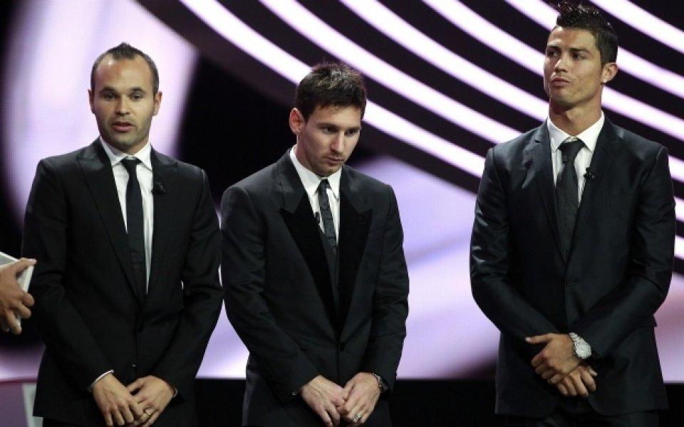 Меси, Роналдо и Иниеста в спора за Златната топка