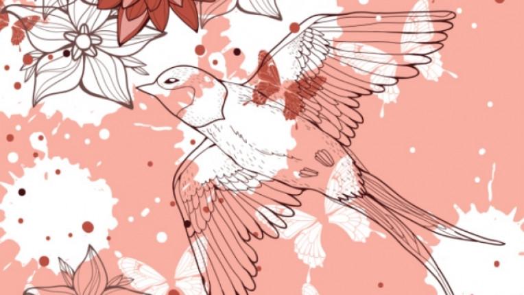 лястовица птица цвете