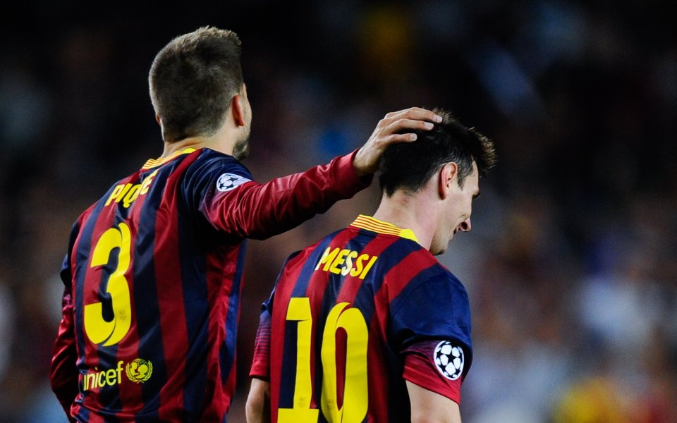 Капитанското трио на Барселона Лео Меси, Жерар Пике и Серхио