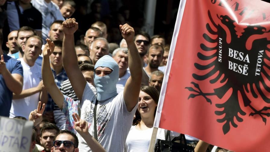 Протест на етнически албанци в Македония