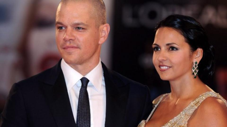 Мат и съпругата му Лусиана на премиерата на филма Contagion в Кан