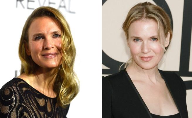 Вляво - Рене Зeлуегър от октомври 2014, а вдясно - актрисата година по-рано (октомври 2013 г.)
