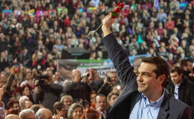 Лидерът на опозиционната СИРИЗА Алексис Ципрас на предизборен митинг в Солун