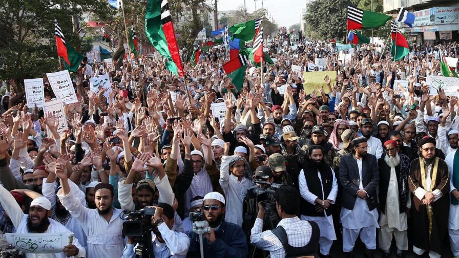 """Снимка от протеста срещу """"Шарли ебдо"""" в Пакистан"""