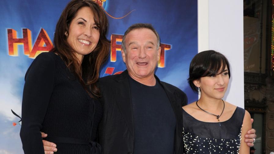 Робин Уилямс заедно със съпругата си Сюзън Шнайдер и дъщеря си Зелда Уилямс