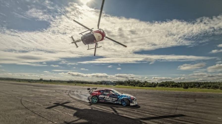Баумгартнер и хеликоптер срещу кола (видео)