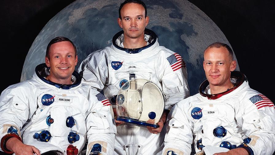 """Екипажът на """"Аполо 11"""": Нийл Армстронг, Майкъл Колинс и Едуин (Бъз) Олдрин"""