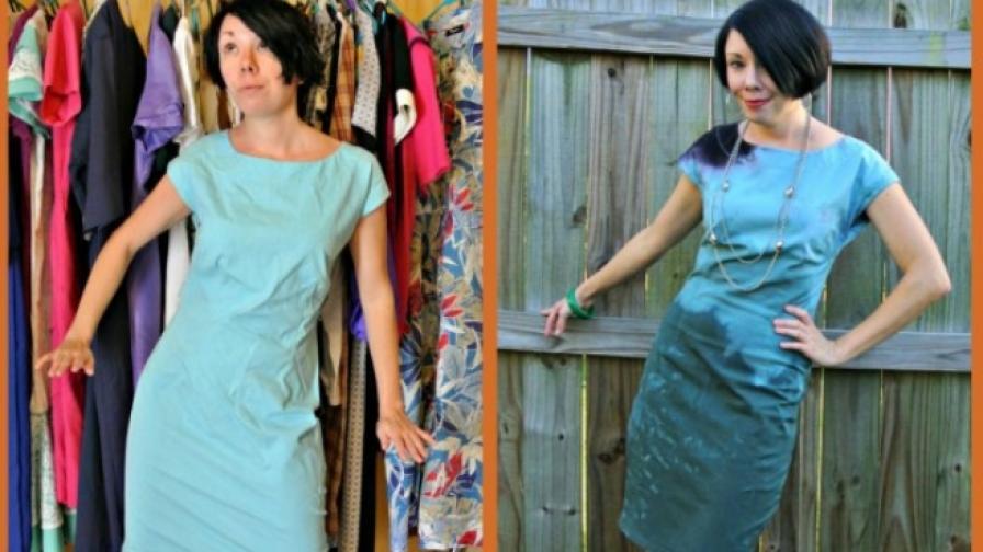 Жена преправя дрехи втора употреба в шикозни тоалети