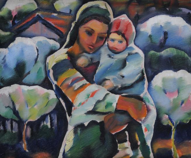 """""""Майка с дете"""" на  Владимир Димитров - Майстора. Една от най-добрите картини на гениалния художник, която беше изложена в Националната художествена галерия по повод 130-годишнината от рождението му."""