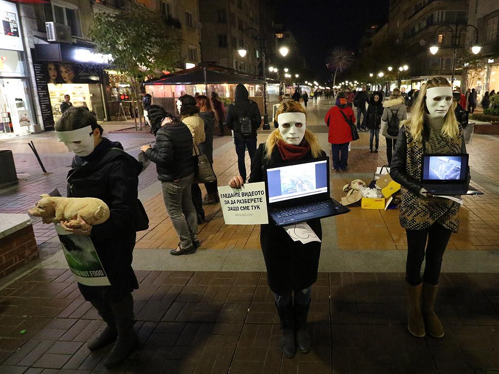 """Десетина вегани с бели маски демонстрираха отношението си към месоядството, като приканваха хората на столичния бул. """"Витоша"""" да гледат документалния филм """"Earthlings"""" (""""Земляни"""")"""