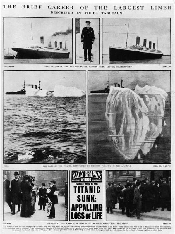 """Колаж на вестник, в който кратко е представена кариерата на """"Титаник""""."""