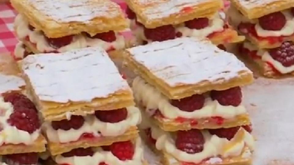 """Рецептата за десерт """"Милфьой"""" с крем """"Шантили"""" и малини от Bake Off"""