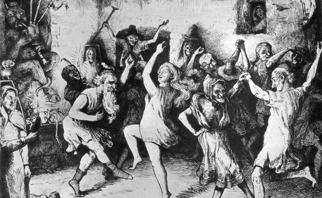 около 1650 г., церемония по осмиване на християнските общества, изпълнявана от магьосници