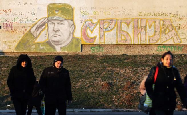 Националистически графити, изобразяващи Ратко Младич, в сръбската столица Белград