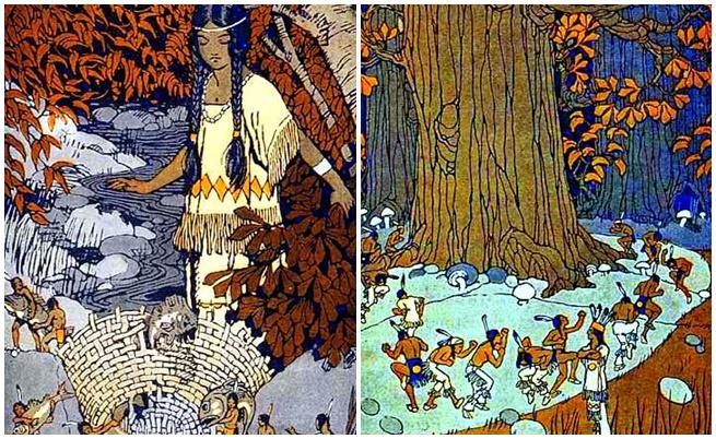 Илюстрации на малките хора в книга с индиански митове и легенди.
