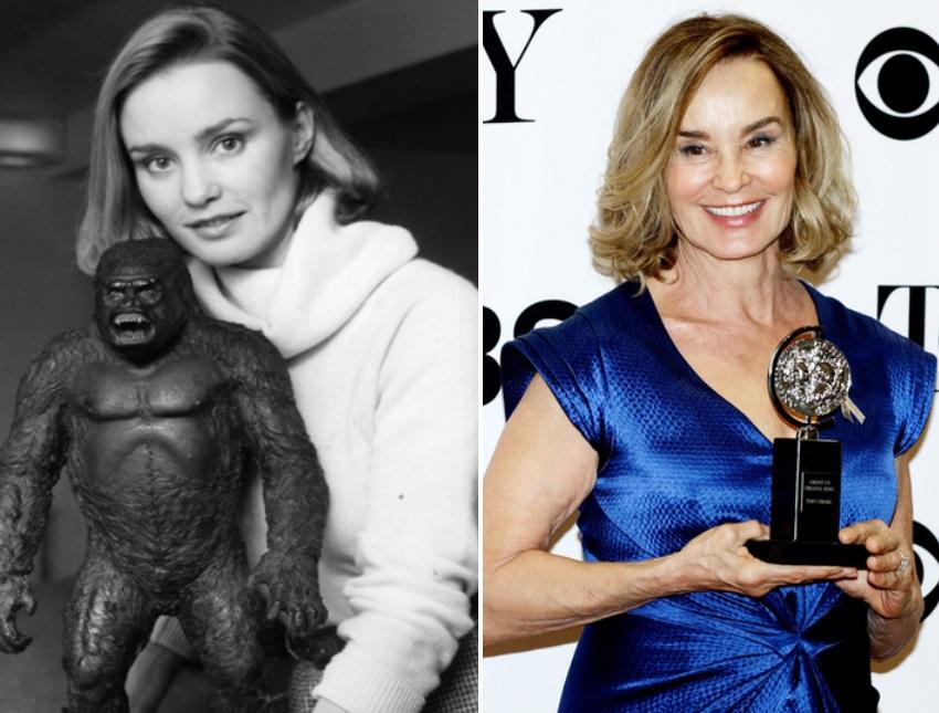 Джесика Ланг през 1976 г. и днес.