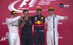 Награждаването на призьорите в Гран При на Баку във Формула 1