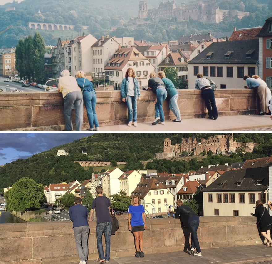 Преди 30 години родената в Калифорния, САЩ, Лиса обикаля няколко европейски държави, сред които Германия и Франция, оставайки впечатлена. Десетрилетия по-късно тя решава да повтори екскурзията си, но с оригинална идея. Сканира всички стари снимки и решава да потърси същите места, за са види дали са се променили. С надеждата да се върне обратно в спомените си. Изненадващото е, че повечето места, на които се е снимала, сакаш са недокоснати от времето. А как се е променила самата Лиса - вижте