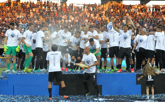 Аталанта празнува класирането си  за Лига Европа в края на сеон 2016/2017.<strong> източник: Gulliver/Getty Images</strong>
