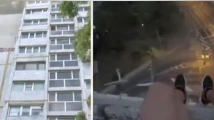 Стряскащи кадри от Бургас, момчета на 50-метрово скеле