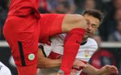 Зловещ удар надроби лицето на играч от Бундеслигата