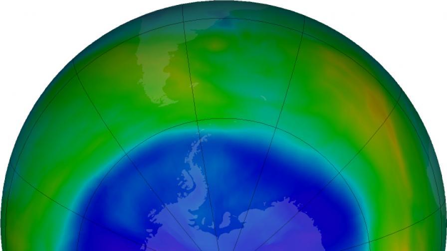 Озоновата дупка в пика си на 11-ти септември 2017 г.
