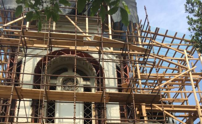 """""""Св. Стефан"""" по време на реставрацията"""