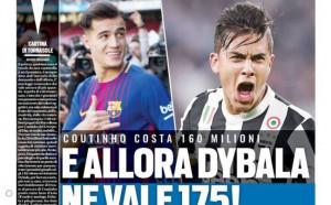 Tuttosport изригна: Ако Коутиньо струва 160 милиона, каква е цената на Дибала?