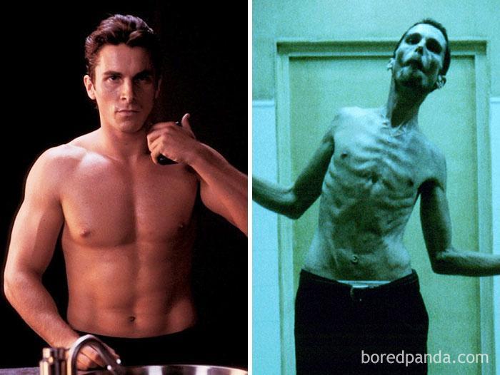 """- В """"Механикът"""" (The Machinist (2004) Крисчън Бейл играе ролята на Тревър Резник, механик, страдащ от тежко безсъние. Липсата на сън води до загуба на..."""