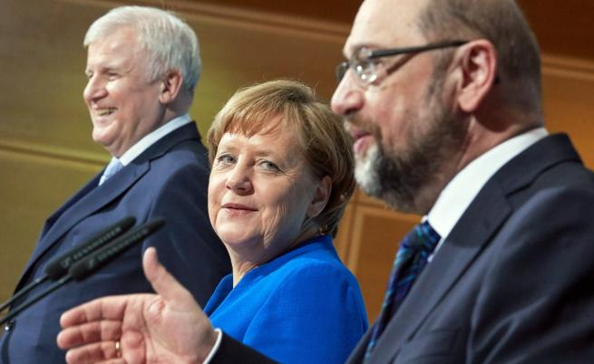Ангела Меркел и лидерът на социалдемократите Мартин Шулц