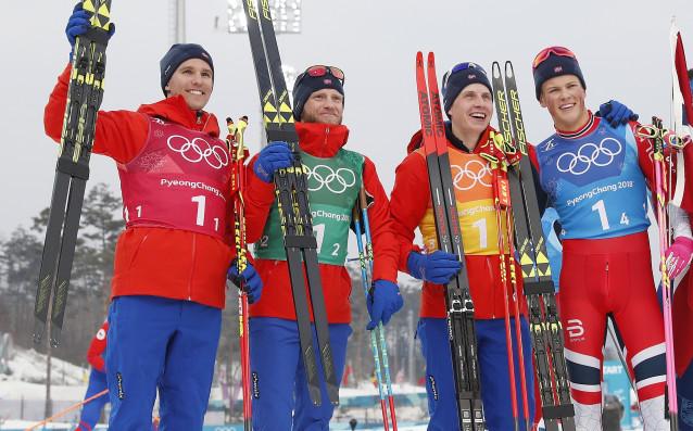 Норвегия спечели олимпийската титла в щафетата по ски бягане при