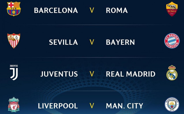 Страхотни сблъсъци ще предложат четвъртфиналите на Шампионската лига в тазгодишното