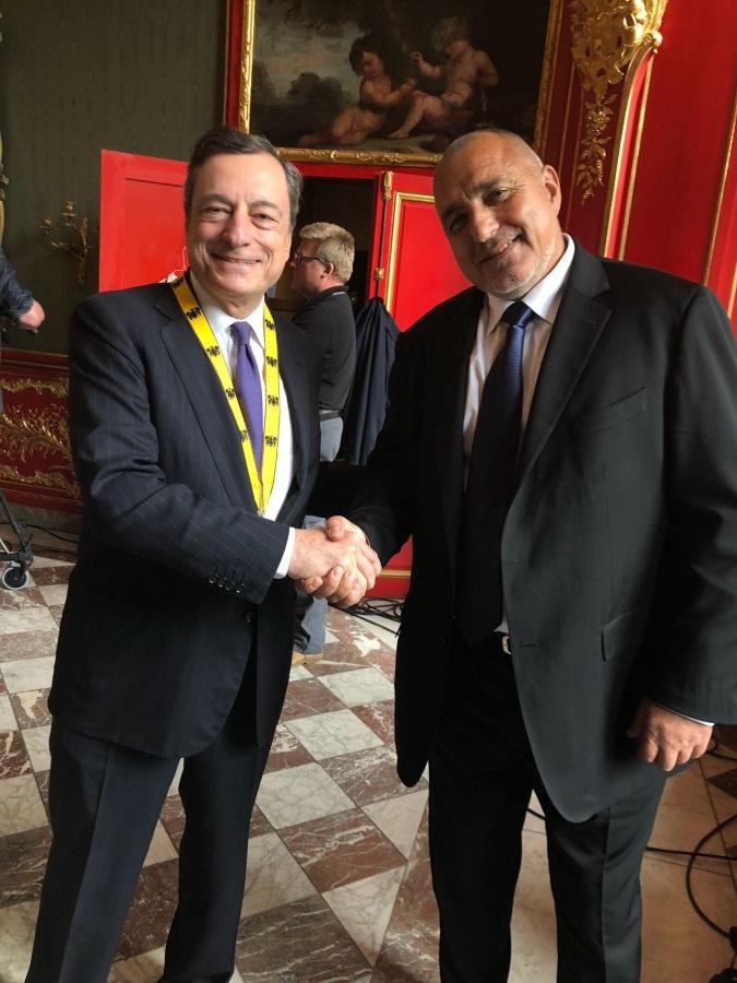 В Аахен Бойко Борисов разговаря с управителя на Европейската централна банка Марио Драги