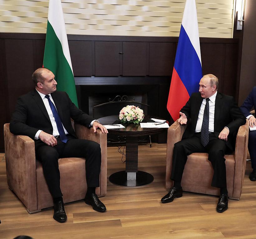 Срещата на президента на България Румен Радев с президента на Руската федерация Владимир Путин в Сочи. В началото на разговорите Радев поздрави Путин за встъпването му в длъжност и заяви, че целта на неговата визита е възстановяване на диалога между двете страни.