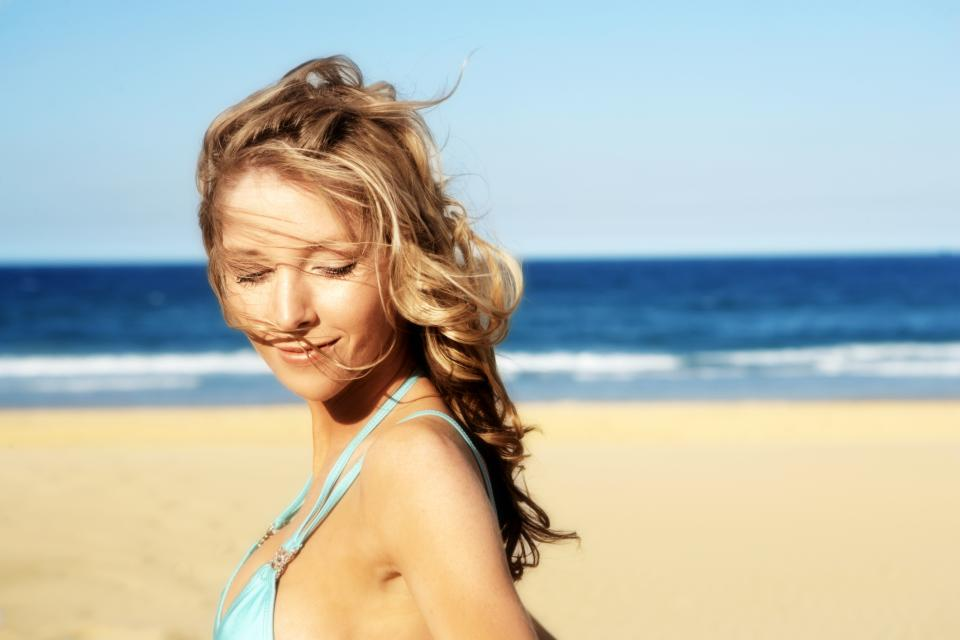 жена лице лято