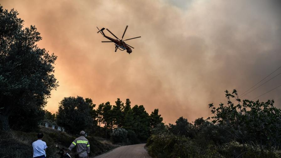 Пожарът на гръцкия остров Евбея е овладян