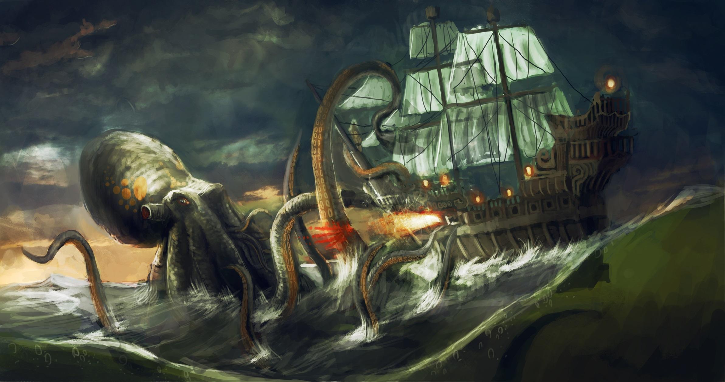 Кракен<br /> <br /> Кракен е най-свирепото същество в морето. На повърхността Кракен би заел площ колкото 10 военни кораба един до друг. Има огромни пипала, с които може да завлече на дъното кораб, заедно с екипажа му.<br /> <br /> Кракен е от тези митологични същества, които са останали с нас и вълнуват въображението ни векове наред. Рибарите на брега на Норвегия, които твърдят, че са го виждали обаче може да се окаже, че казват истината. Макар че няма създание, което да е толкова масивно, колкото истинския Кракен, учените са открили огромен калмар, който може да нарасне до 600 кг. Това митологично същество може да е преувеличен разказ за истинско океанско чудовище.