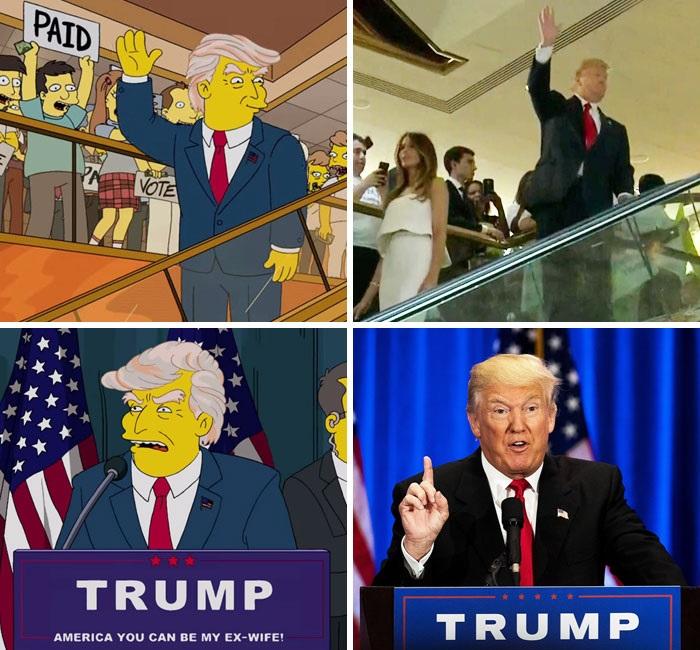 Семейство Симпсън и Доналд Тръмп<br /> <br /> Анимационният сериал Семейство Симпсън е известен с това, че е предсказал редица събития, но може би най-значимото предсказание е това, че Доналд Тръмп ще стане президент. Никой не е го е очаквал, но Семейство Симпсън го е предвидило още през 2000 година.