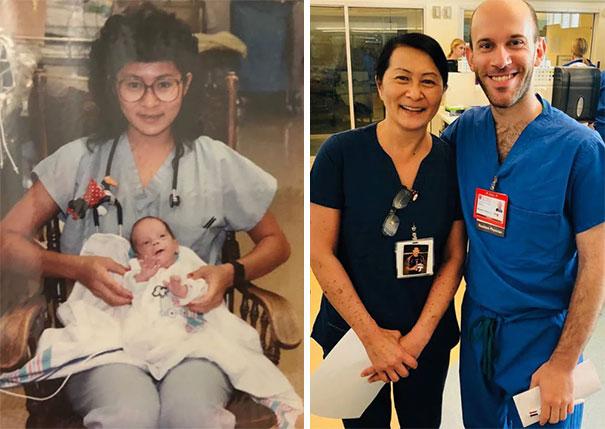 Преди 28 години тази медицинска сестра спасява живота на момченце, което сега е неин колега.