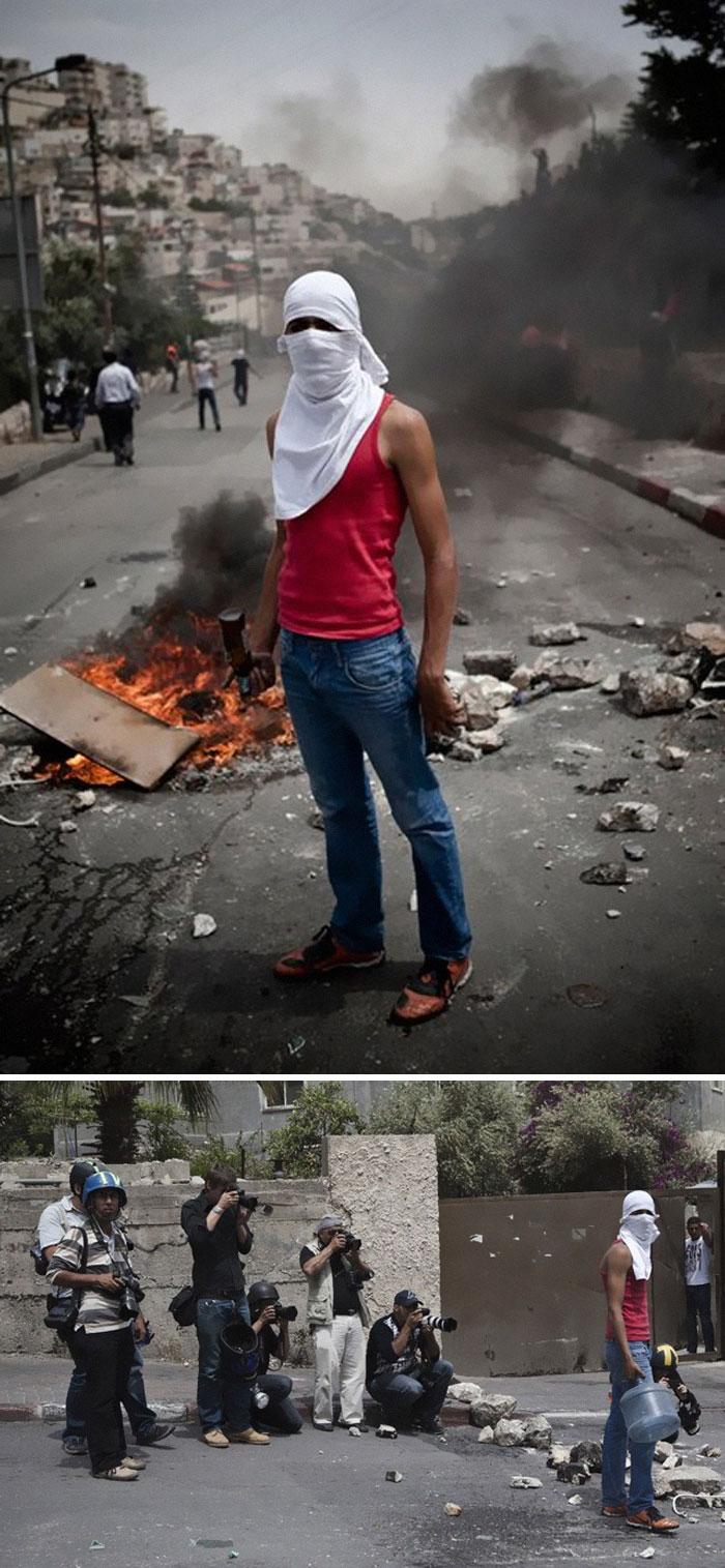 Фотографът Рубен Салвадори отразява конфликта между израелски войници и палестински младежи. Снимката е направена със сътрудничеството на млад палестинец .