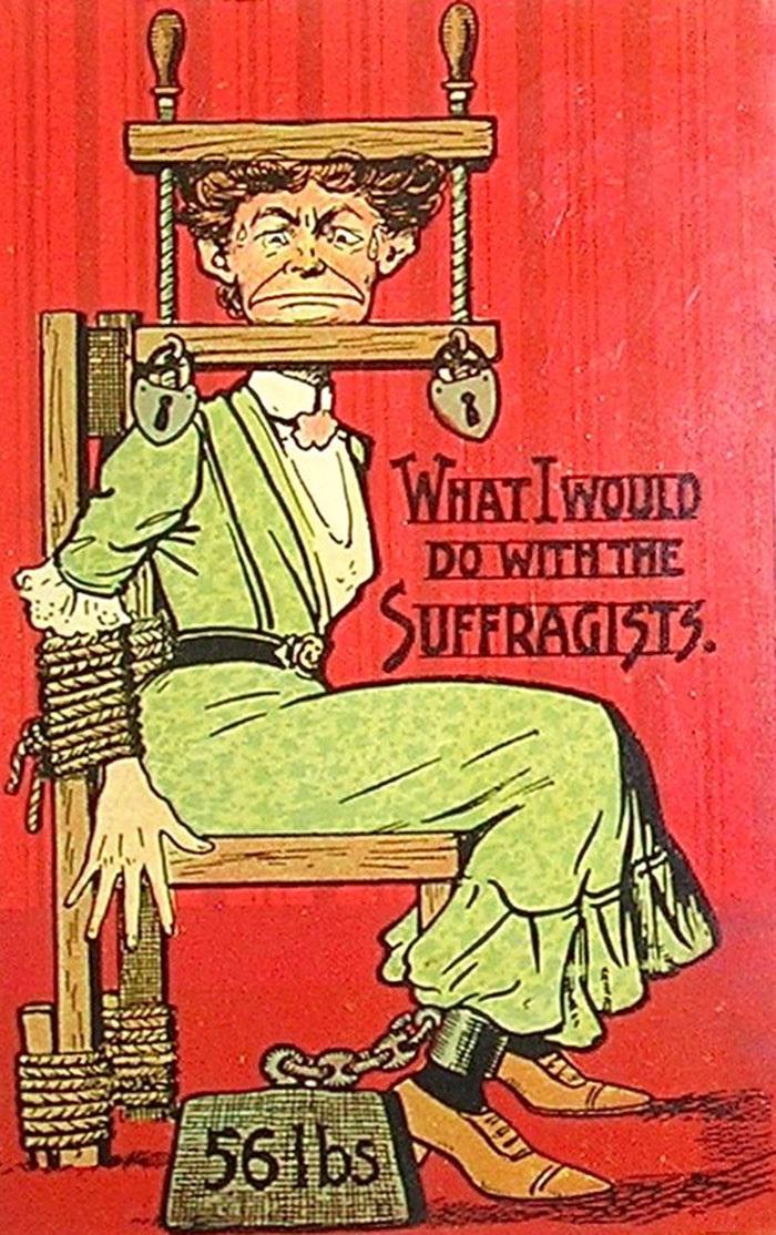 Повечто мъже намирали идеите на суфражетките не просто за неприятни, а и за изключително опасни