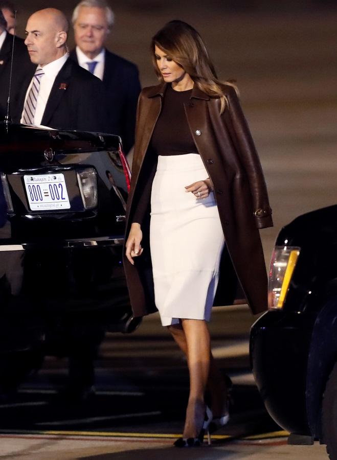 Първата дама на САЩ Мелания Тръмп при пристигането на летището в Буенос Айрес