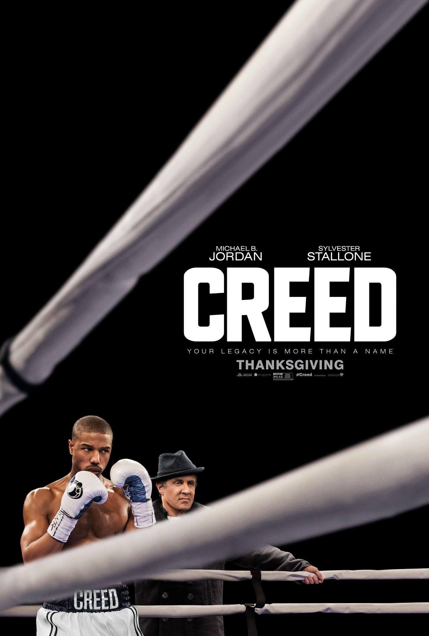 """1. Creed / """"Крийд: Сърце на шампион"""" (2015) – Режисьор: Райън Куглър; Участват: Майкъл Б. Джордан, Силвестър Сталоун, Теса Томпсън"""