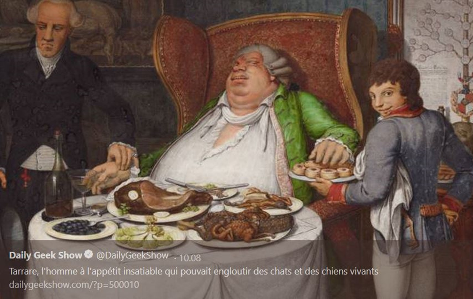 Таррар, който може би е изял бебе<br /> Таррар, роден през 1772 г. в близост до Лион, Франция, от малък бил винаги гладен и нищо не можело да го засити дълготрайно. Заради болестното му състояние, родителите му го прогонват на 17-годишна възраст. Той прекарва няколко години в Париж, изкарвайки пари от яденето на различни неща, които обичайно не се ядат – живи животни и дори камъни, пред големи публики на широките площади. След началото на Френската революция Террар става военен, но се разболява от яденето на улични животни и предмети и го преназначават като военен пощальон, за да пренася тайни съобщения в стомаха си.<br />