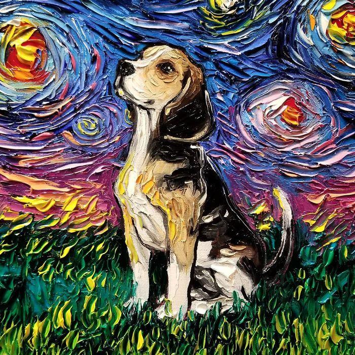 10. Сподели пред читателите на Vesti.bg каква е твоята цел за 2019?<br /> - Да завърша колекцията Звездна нощ с кучета – това е основната ми цел засега. На страна от това – да продължа да рисувам и да видя къде това ще ме отведе.