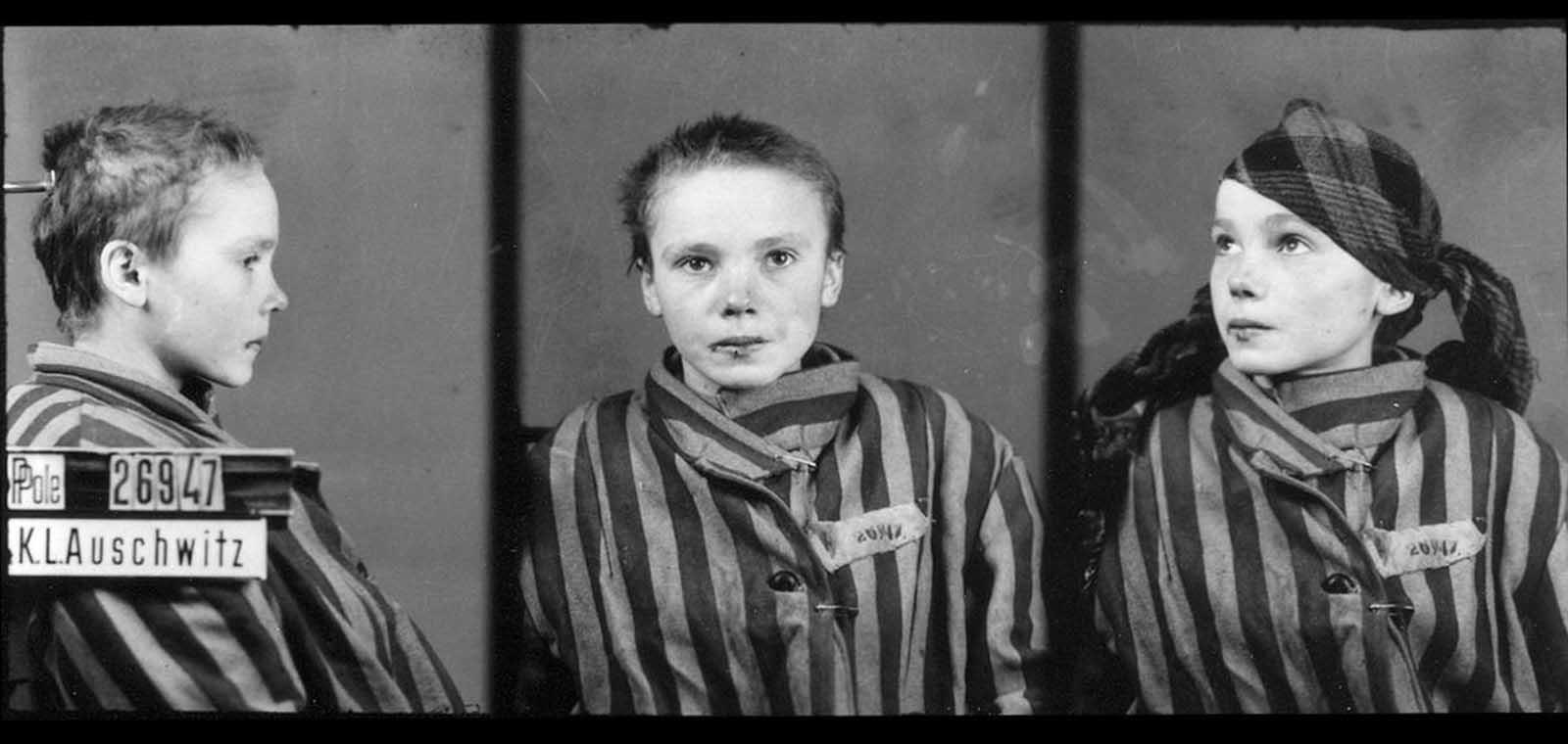 """14-годишната Чеслава Квока е едно от хилядите деца, изживели края на краткия си живот в концентрационен лагер. Тя се появява на идентификационни снимки в архиви на музея на Аушвиц. Цялата история на Чеслава и други деца, изгубили живота си по време на Холокоста, може да прочетете тук: <a href=""""https://www.vesti.bg/lyubopitno/istoriata-pomni/detskite-zhivoti-i-nadezhdi-pogubeni-v-aushvic-i-ne-samo-6069992"""">Детските животи и надежди, погубени в Аушвиц и не само</a>"""