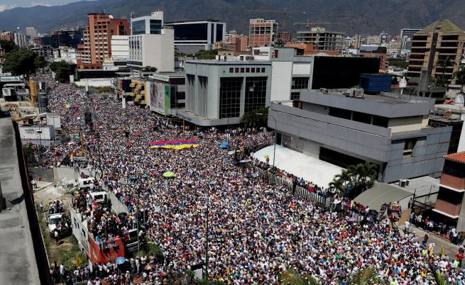 Днес в столицата на Венецуела Каракас се проведе огромен митинг на опозицията в подкрепа на Хуан Гуайдо